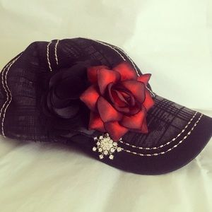 Accessories - Romantic Red and Black Baseball Cap